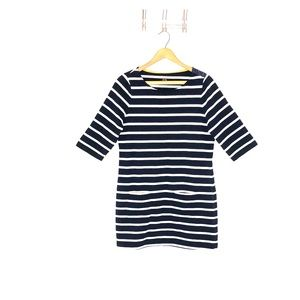 Boden Navy and White Striped Dress with Pockets